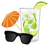 Cocktail with colored symbols of summer Stock Photography