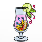 Cocktail with colorful flowers Stock Photography