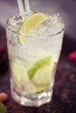 Cocktail com cal e gelo imagem de stock royalty free