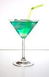 Cocktail com gelo e palha Fotografia de Stock Royalty Free