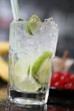 Cocktail con calce e ghiaccio Fotografia Stock Libera da Diritti
