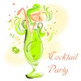 Cocktail con calce e l'ombrello Illustrazione disegnata a mano d'annata di vettore Progettazione del ricevimento pomeridiano, Immagini Stock