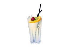 Cocktail con il kiwi e le fragole del limone Fotografia Stock Libera da Diritti