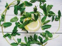 cocktail con le foglie di menta e del limone su un fondo bianco Immagine Stock