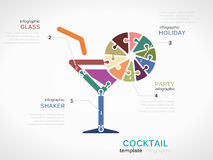 Cocktail. Concept infographic template with glass made out of puzzle pieces vector illustration