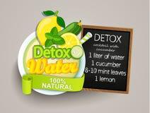 Cocktail-concombre de detox de recette, citron, l'eau, menthe Images stock