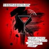 Cocktail cosmopolita nello stile di lerciume Immagine Stock