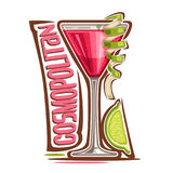 Cocktail Cosmopolitan. Vector illustration of alcohol Cocktail Cosmopolitan: glass with garnish of lime twist of cosmo cocktail, logo with pink title stock illustration