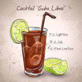 Cocktail Cuba Libre. With lime and Cola, low-alcohol drink Royalty Free Stock Images
