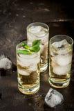 Cocktail d'alcool avec la tequila d'or images stock