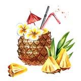 Cocktail d'ananas avec des tranches d'ananas Illustration tirée par la main d'aquarelle d'isolement sur le fond blanc Images stock