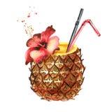 Cocktail d'ananas Illustration tirée par la main d'aquarelle d'isolement sur le fond blanc Photo libre de droits