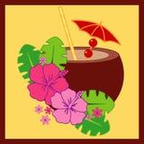 Cocktail da cereja do coco ilustração do vetor