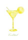 Cocktail da silhueta em um fundo branco Fotografia de Stock Royalty Free