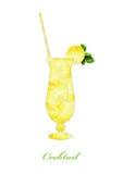 Cocktail da silhueta em um fundo branco Imagem de Stock Royalty Free