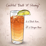 Cocktail Dark 'N' Stormy Royalty Free Stock Photography