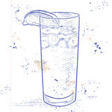 Cocktail Dark 'N' Stormy on a notebook page royalty free illustration