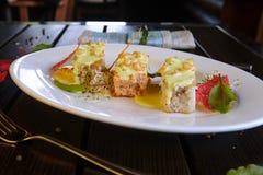 Cocktail das bebidas da sobremesa dos vegetais da massa dos vegetais do prato da guloseima da carne do alimento fotografia de stock