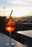 Cocktail in de avond dichtbij meer Genève Genève, Zwitserland Royalty-vrije Stock Foto