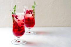 Cocktail de canneberge avec de la glace et Rosemary On White Background images libres de droits