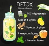 Cocktail de detox de recette avec le thé vert Images stock