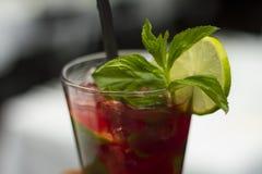 Cocktail de fraise avec les feuilles en bon état - Image courante Photo stock
