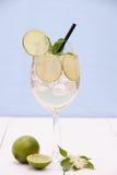 Cocktail de Hugo com cal, hortelã e xarope do elderflower fotos de stock royalty free