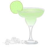 Cocktail de margarita avec une tranche de chaux Images libres de droits