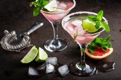 Cocktail de Margarita com borda salgada, cal e suco de toranja fresco, bebida de refrescamento ou bebida do citrino frio do verão imagem de stock