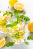 Cocktail de mojito de citron avec la menthe fraîche, boisson régénératrice froide d'été Image libre de droits