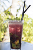 Cocktail de Mojito de fraise Photographie stock