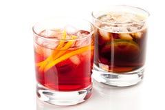 Cocktail de Negroni e de Cuba Libre Fotos de Stock Royalty Free