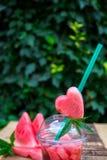 Cocktail de pastèque avec la tranche sur le fond en bois, extérieur Images stock