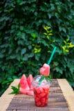 Cocktail de pastèque avec la tranche sur le fond en bois, extérieur Coeur découpé du tube Photographie stock