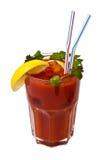 Cocktail de tomate avec le persil d'isolement sur le blanc Photo stock