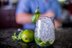 Cocktail decorated with mint and a slice of lime, grass with ice in a glass of wine Balon with bartender on background royalty free stock photography