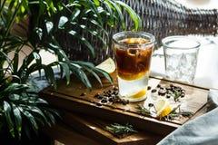 Cocktail del caffè con il limone ed il tonico Fotografia Stock Libera da Diritti