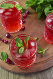 Cocktail del mirtillo rosso con la menta ed il ghiaccio Immagine Stock Libera da Diritti