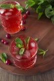 Cocktail del mirtillo rosso con la menta ed il ghiaccio Immagine Stock