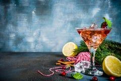 Cocktail del mirtillo rosso di Natale fotografie stock libere da diritti