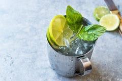 Cocktail del mulo di Mosca con calce, le foglie di menta ed il ghiaccio tritato in tazza del metallo immagini stock libere da diritti