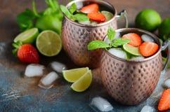 Cocktail del mulo di Mosca con la birra di zenzero, la vodka, la calce, le fragole e la menta in tazze di un bottaio immagini stock libere da diritti