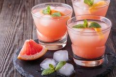 Cocktail del pompelmo con ghiaccio e la menta fotografia stock