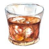 Cocktail dell'alcool del ghiaccio del whiskey del rum dell'acquerello isolato Fotografia Stock