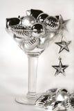 Cocktail dell'ornamento dell'argento di nuovo anno Immagini Stock Libere da Diritti