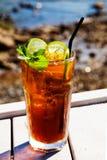 Cocktail della cola con il limone e la menta Fotografia Stock