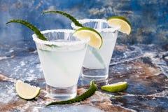 Cocktail della margarita di vera dell'aloe con l'orlo salato sulla tavola di marmo Fotografie Stock Libere da Diritti