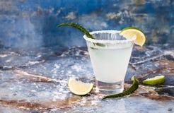 Cocktail della margarita di vera dell'aloe con l'orlo salato sulla tavola di marmo Fotografia Stock Libera da Diritti