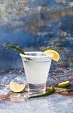 Cocktail della margarita di vera dell'aloe con l'orlo salato sulla tavola di marmo Immagine Stock Libera da Diritti