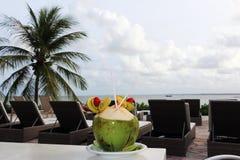Cocktail della noce di cocco sulla tavola Fotografia Stock